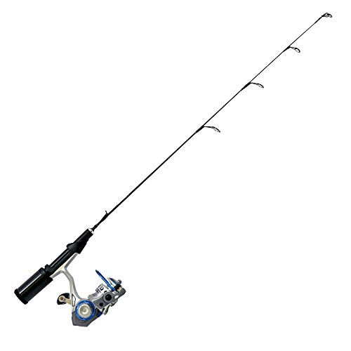 Quantum Glacier XTi Spinning Reel and Ice Fishing Rod Combo, Solid Carbon Rod, 8-Ball Bearing Lightweight Graphite Ice Fishing Reel with Aluminum Spool