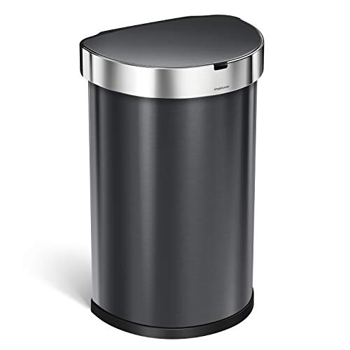 simplehuman 45 Liter / 12 Gallon Semi-Round Sensor Automatic Trash Can, Stainless Steel, Black