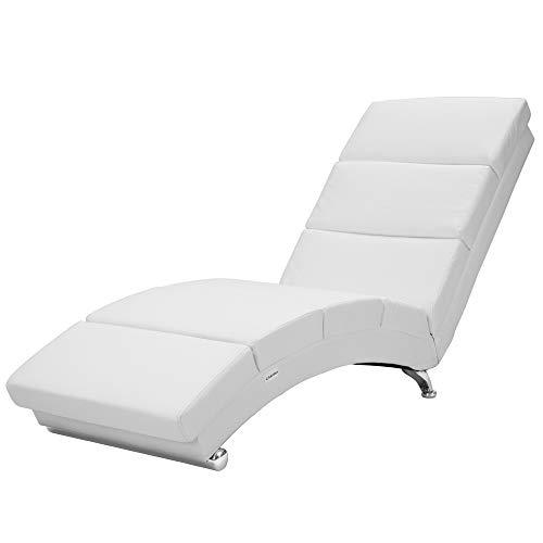 Casaria Relaxliege Liegesessel London Wohnzimmer Kunstleder Weiß Ergonomisch 186x55cm Modern Relaxsessel Liegestuhl