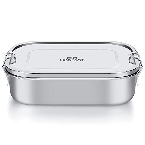 Stainless Steel Lunch Box, G.a HOMEFAVOR Metal Bento Box 1400ml Food Container with Lock Clips for School, Office, Work and Camping