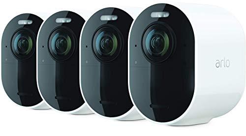 Arlo Ultra 2 Spotlight Videosorveglianza, WiFi, videocamera 4K e HDR, Visione notturna a colori, audio bidirezionale, attivazione tramite movimento, visione a 180°, kit 3 cam + base - VMC5440