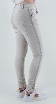Lexxury-Damen-Stretch-Baggy-Jeans-seitliche-Streifen-o-Nieten-Tapered-Leg-Boyfriend-Hose-10-Farben-8504-XS-34-Hellbeige-Creme