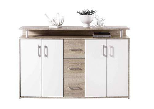 AVANTI TRENDSTORE - Com in quercia Sonoma / bianco d'imitazione, con 1 ripiano aperto, 3 cassetti e...