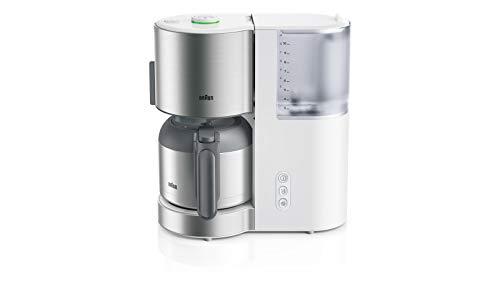 Braun Kaffeemaschine KF 5105 WH – IDCollection Filterkaffeemaschine, mit AromaSelect & 10 Tassen Thermoskanne, perfekter Genuss, 1000 Watt, Weiß/Edelstahl