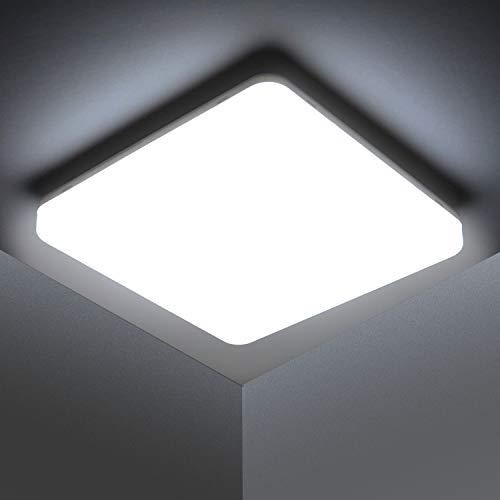 Kambo Lampada da Soffitto LED Luce Quadrata 48W Plafoniera LED Moderno IP44 Impermeabile Bianco Freddo 6500K 4320LM per Bagno Cucina Camera da letto Sala Soggiorno Corridoio Ufficio Cantina