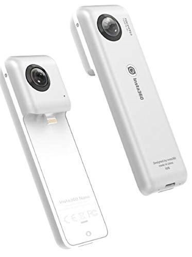 insta360 Nano S Videocamera 3D VR Compatta, Fotocamera HD 4K 360°, Foto da 20 Megapixel, Compatibile con iPhone X/8/7/6 Series, Stabilizzazione Integrata, Microfono Integrato, con Lightning, Argento