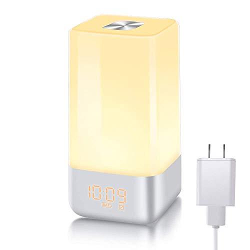 【光+音!目覚まし時計】YABAE Wake Up Light 光療法 自然音 アラーム ベッドサイドランプ タッチセンサー ...