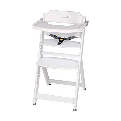 Safety 1st Timba, mitwachsender Hochstuhl aus massivem Buchenholz, inkl. abnehmbarem Tisch, ab 6 Monate bis ca. 10 Jahre (max. 30 kg), white (weiß)
