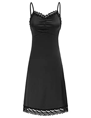 Sexy adjustable full slip lace chemise dress. It is made of high-quality fabrics, soft and skin-friendly. Sweetheart elegant neckline line/hem with lace, is a perfect mini dress Adjustable shoulder strap, excellent drapability and micro elasticity. F...