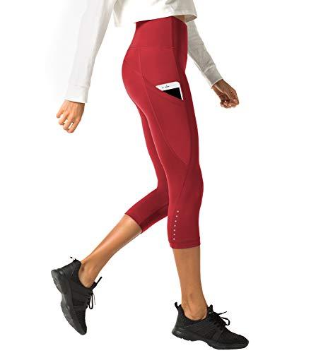LAPASA Donna 3/4 Capri Leggings Sportivi Con Tasche Laterali Pantaloni Per Yoga Allenamento Palestra (Small, 04.04.Rosso super opaco(Tasche laterali))