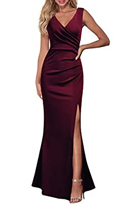 Polyester/Spandex,Fabric is Elasticity,Stretchy,Comfortable Sleeveless ,Sex V Neck,Floor Length,Not lined,Maxi Dresses A-Line,Bodycon,Wrap Waist,High Waist,Split Mermaid Hem,Solid Color,Long Length, Occasion: Formal, Evening, Guest of Wedding, Bridal...