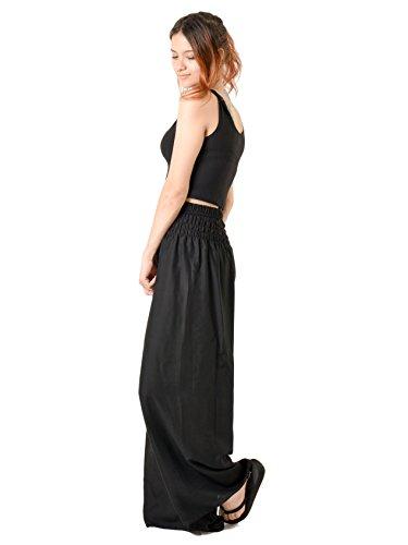 Orient Trail Women's Hippie Bohemian Boho Yoga Wide Leg Harem Pants X-Large Solid Black 2