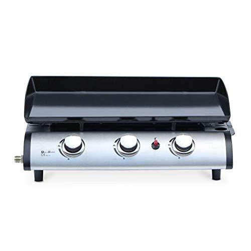 Alice's Garden Plancha au gaz 3 Feux - Porthos 3 brûleurs - 7.5 KW. Barbecue. Cuisine extérieure. Grande Plaque émaillée. INOX