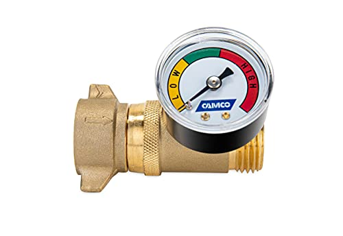 Camco Brass Water Pressure Regulator with Gauge- Helps Protect RV...