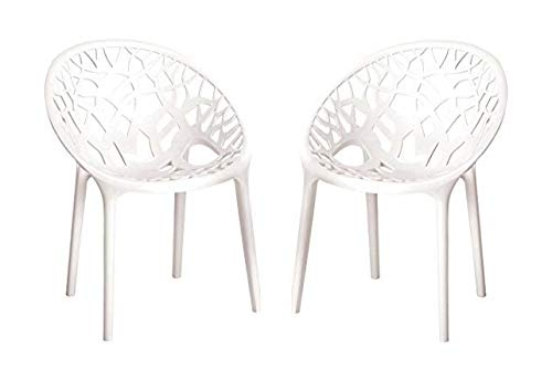 NILKAMAL Crystal Chair Set of 2 for Home and Garden (White)