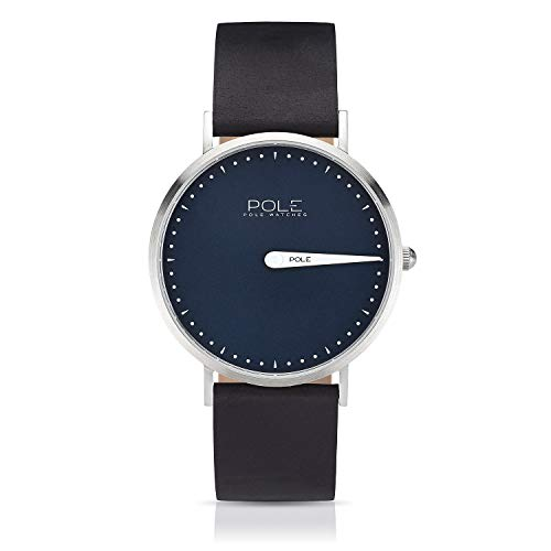 Pole Watches Herren Quarz Analoge Einzeigeruhr in Blau und Lederarmband in Schwarz | Modell Classic Aqua C-1001AZ-BL07