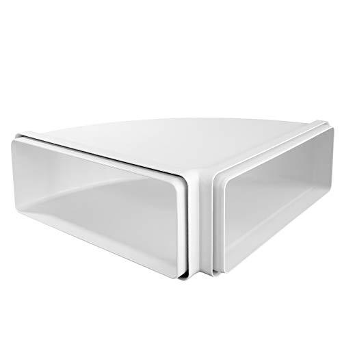 La Ventilazione CCO229B Curva orizzontale 220x90 mm - con imbocchi F/F in ABS per tubo rettangolare. Colore bianco