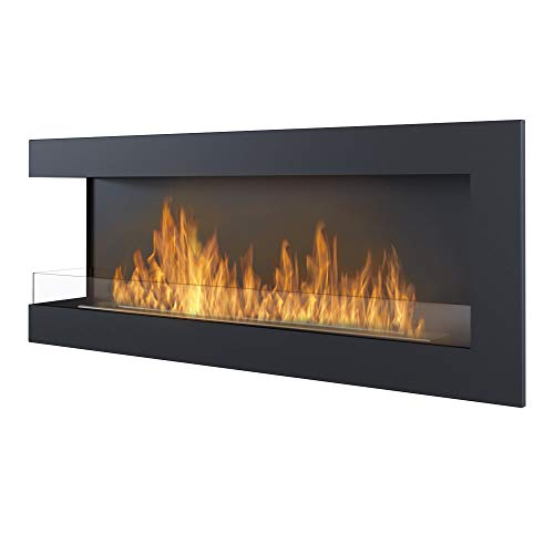 Delta 1200 Ethanol Fireplace, Wall Mounted, Left Corner, Black, Width: 120cm, TUV Certified
