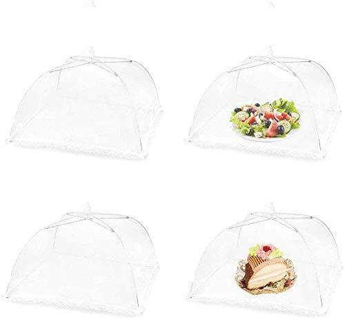 ilauke Fliegenhaube, 4er Set Abdeckhaube für Essen Faltbare Kuchenabdeckung Fliegenschirm Lebensmittel Abdeckung Fliegen-Schutz, Weiß