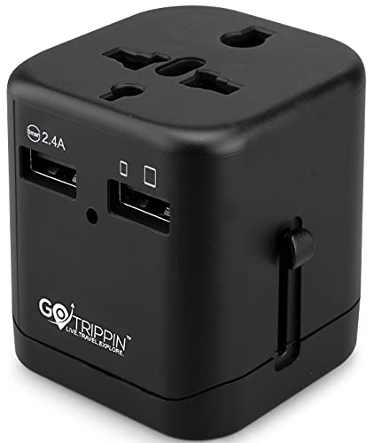 GoTrippin Premium Universal Travel Adapter with Dual USB Charger Ports and Smart Charging (Black),...