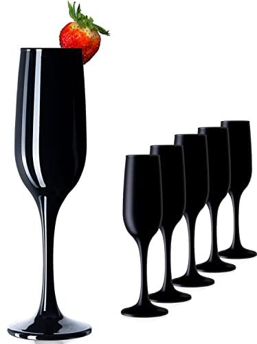 PLATINUX Set di 6 calici da spumante in vetro, colore: nero, 210 ml