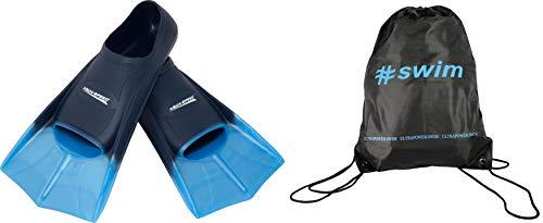 Aqua Speed Trainingsflossen kurz I Kinder I Schwimmflossen für Mädchen Jungen I leichte Kurzflossen Training I Gummi Flossen I Schwimmtraining I + Ultrapower Rucksack I blauIhellblauI02; Gr. 35I36