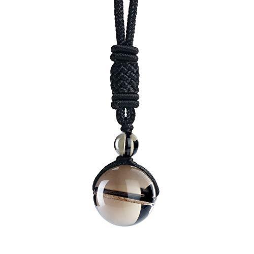 iSTONE Unisex Genuine Smoky Quartz 16mm Round Gemstone Beads...