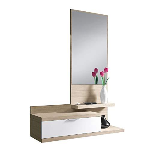 Habitdesign 016744W - Mobile da Ingresso Dahila con cassetto e Specchio, mobili d'ingresso in Colore...