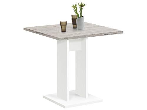 möbelando Esszimmertisch Küchentisch Esstisch Holztisch Speisetisch Tisch Yvette I Weiß/Sandeiche