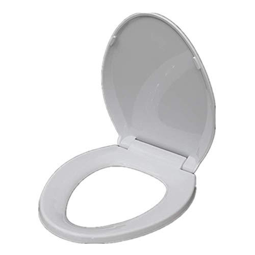 DBSCD Sele WC Bianco Allungato,sele ridurr Il sorne,Chiusura lenta e mai Allentata,Allungata,Resistente in plastica Lunga Durata,Hardware ad Attacco rapido Silenzioso