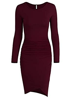"""US Size:XS (US 0-2 ),S (US 4-6 ),M (US 8-10 ),L (US 12-14 ),XL (US 16-18 ) Model's size imformation:Height:5'9"""", Bust:34B,Weight:120LBS.Wear:XS Features:round neck,long sleeve,side shirring,fitted,tulip shape irregular hem,above knee length,casual fa..."""