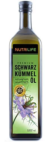 Schwarzkümmelöl ungefiltert, kaltgepresst, 100% naturrein und naturbelassen, 1000ml, Frischegarantie: täglich mühlenfrisch direkt vom Hersteller Kräuterland Natur-Ölmühle