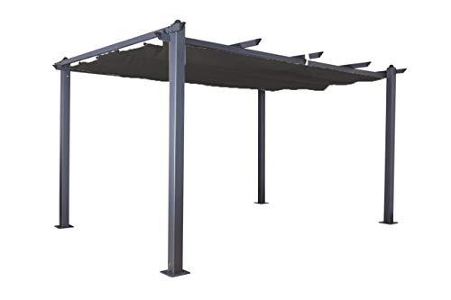Jet-line Pavillon Pergola Überdachung \'Luxor 4 x 3 m Sonnenschutz Terrasse Garten anthrazit-anthrazit Sonnenschutz Sonnendach UV Schutz Aluminium Alu
