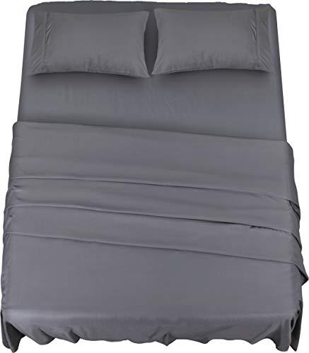 Utopia Bedding - Set Lenzuola Letto - Spazzolata Microfibra - Lenzuola e 2 Federe - per la Letto 135 x 190 cm (Grigio, Una Piazza e Mezza)
