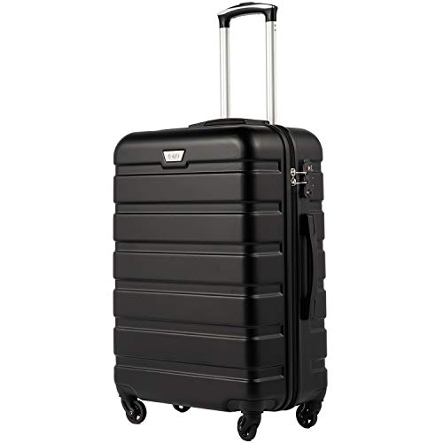 COOLIFE Hartschalen-Koffer Trolley Rollkoffer Reisekoffer mit TSA-Schloss und 4 Rollen(Schwarz, Mittelgroßer Koffer)