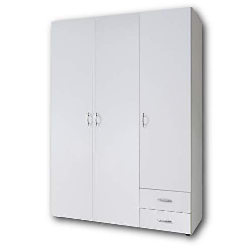 BASE Zeitloser Kleiderschrank in drei verschiedenen Größen - Vielseitiger Drehtürenschrank in Weiß - 120 x 177 x 52 cm (B/H/T)
