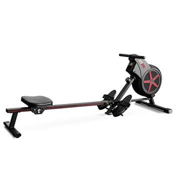 FITFIU Fitness RA-100 - Rameur pliable, résistance à l'air, siège rembourré, rameur pour le cardio et le cross training à la maison, poids max. de l'utilisateur 110kg