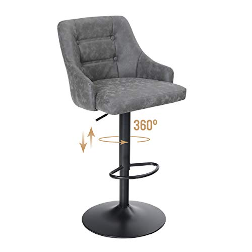 ALPHA HOME Swivel Bar Stool Adjustable Airlift Counter Height Bar Stool Kitchen Dining Cafe Hydraulic PU Leather Bar Chair with Padded Back and Black Chromed Metal Base, Grey,1PC