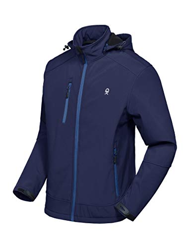 Little Donkey Andy Men's Softshell Jacket with Removable Hood, Fleece Lined and Water Repellent Deep Blue Size L