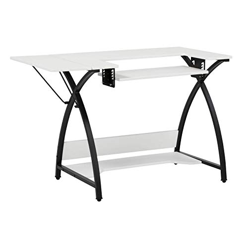 Sew Ready Comet Sewing Table Multipurpose/Sewing Desk Craft Table Sturdy Computer Desk, 13332, 45.5' W, Black/White