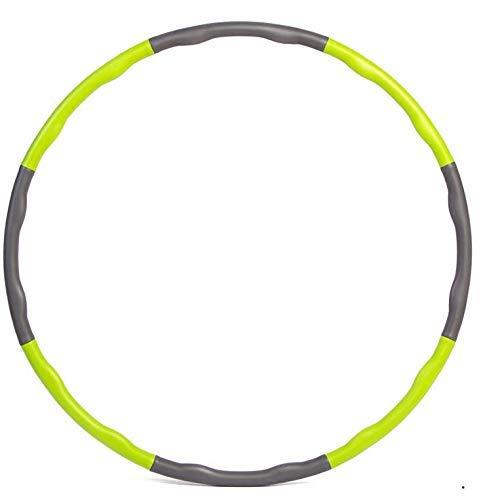 Mailier Fitness-Hula-Hoop-Reifen für Erwachsene, Gewichtsverlust, schnelles Training, Reisen, Workout, Fettverbrennung, gesund, abnehmbar und größenverstellbar, 900 g, Grün+Grau