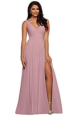 Feature: V Neck,Ruched on the Top,Build in Bra,Split of One Side Leg,A-Line,Floor Length. Style: Chiffon v-neck long prom dress with split looks very elegant and sexy. Occasion: Great for Bridesmaid,Evening,Formal,Party,Wedding,Homecoming,Prom,Events...