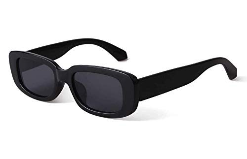 elegante Rectanglular Sunglasses for Women Retro Driving Sunlgasses Vintage Fashion Narrow Square Frame UV400 Protection (C1 - BLACK)