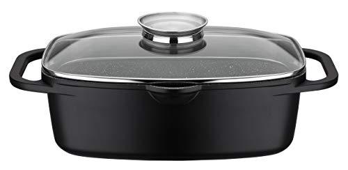 GSW 410182 Gourmet - Rostiera universale in granito, 33 x 21 cm, alluminio, vetro, colore: Nero