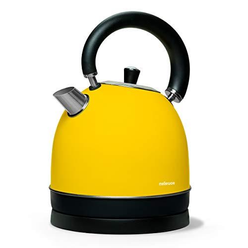 Mellerware Spring! Hervidor eléctrico Tipo Kettle. 100ºC Temperatura de Trabajo. 1,80 litros de Capacidad. Indicador de Nivel de Agua. Diseño Elegante. Acero Inoxidable (Amarillo)