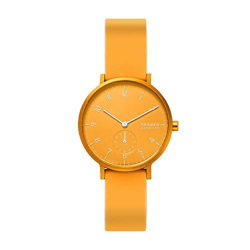 Skagen Unisex Erwachsene Analog Damen Uhr mit Silikon Armband SKW2808