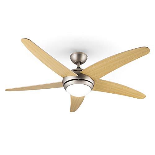 Klarstein Bolero - Ventilatore da Soffitto, con Lampada, 134 cm, 55 Watt, Telecomando, Pale in Acero