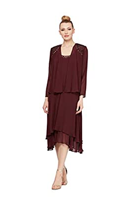 Sleeveless chiffon dress with embellished scoop neckline and tiered skirt Pullover Elegant versatile style Two-piece set with sleeveless dress and long-sleeve jacket