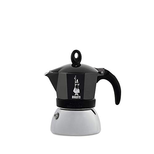 Bialetti Moka Induction Caffettiera Adatta all'Induzione, 3 Cups, Alluminio, Nero, Diametro: 9,8 cm