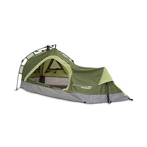 Lumaland Where Tomorrow Solo-Zelt Pop Up Wurfzelt 1-Personen-Zelt - Dreieck - 225x100x57 cm - Camping Festival - Ultraleicht, kleines Packmaß, wasserdicht, robust - Grün
